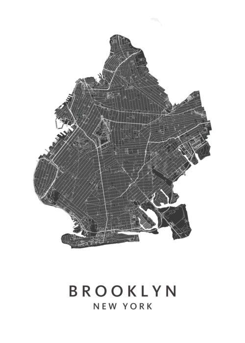 New York - Brooklyn - Wijkkaart - White