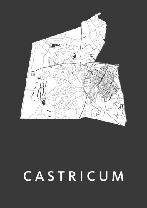 Castricum Black Stadskaart Poster | Kunst in Kaart