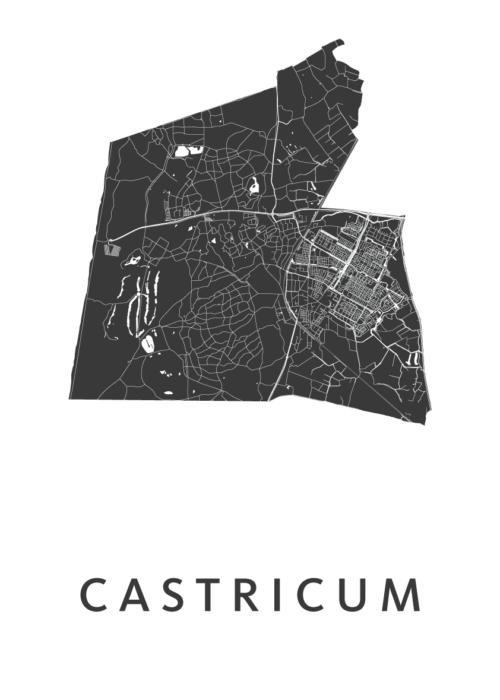 Castricum White Stadskaart Poster | Kunst in Kaart
