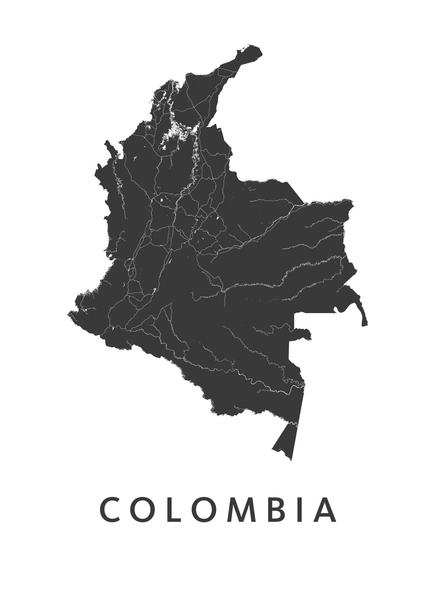 Colombia White B2 stadskaart poster