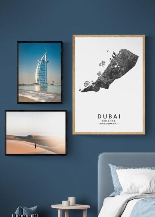 Posterwand Kunst in Kaart Dubai