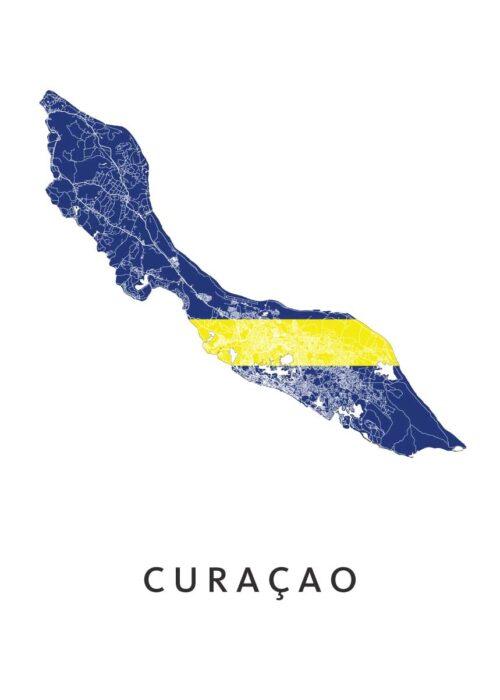 Curaçao Landkaart - Landvlag - Poster