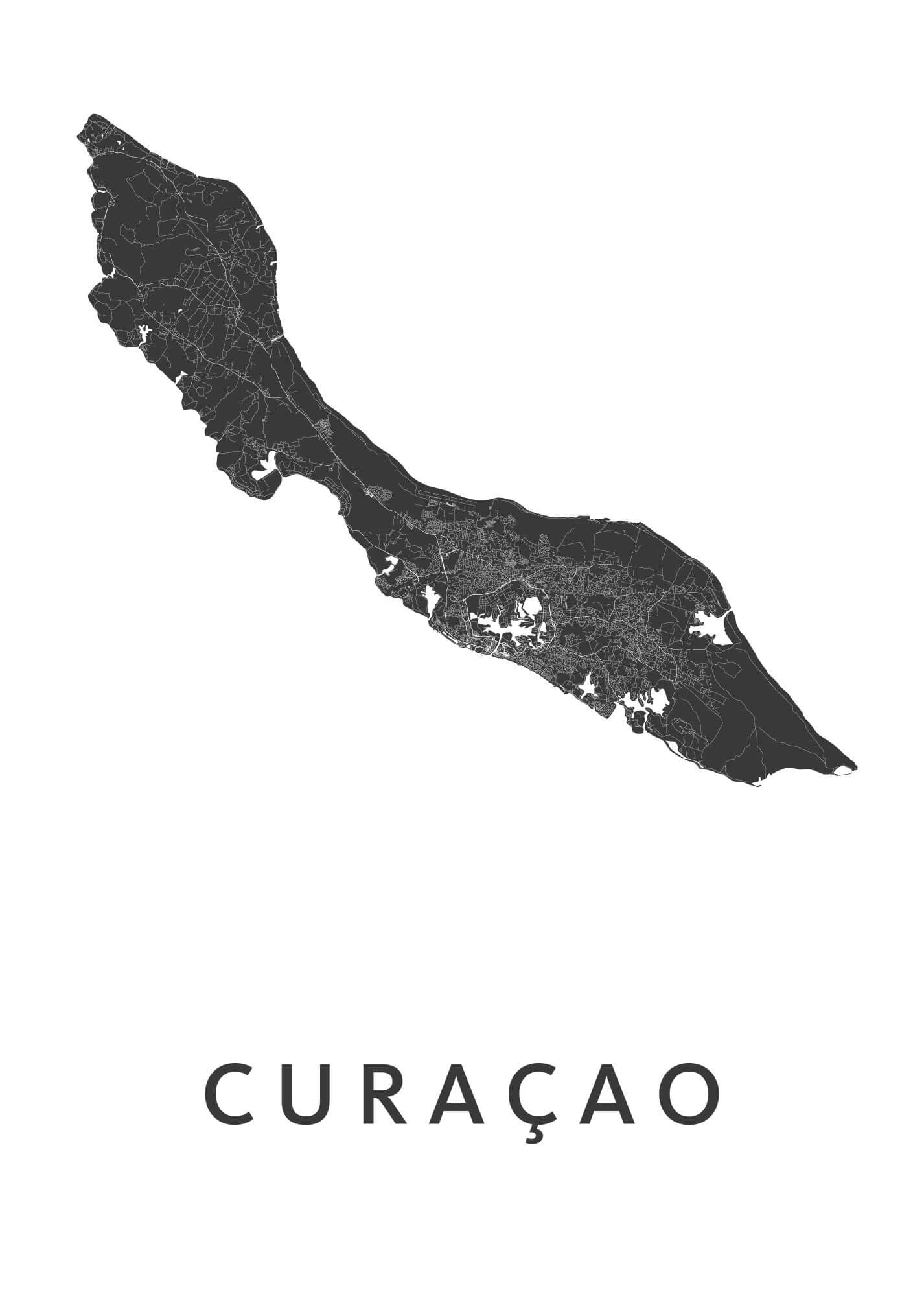 Curacao white B2 stadskaart poster