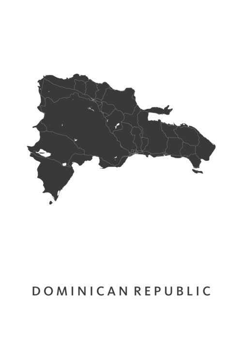 Dominican Republic Country Map stadskaart poster