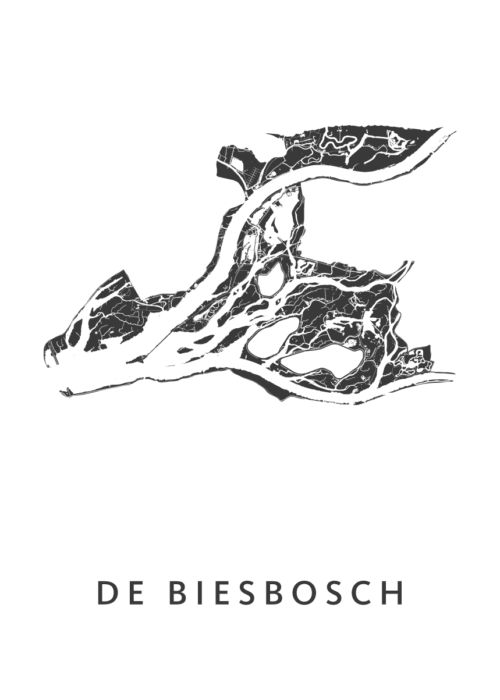 De Biesbosch kaart plattegrond - kunst in kaart