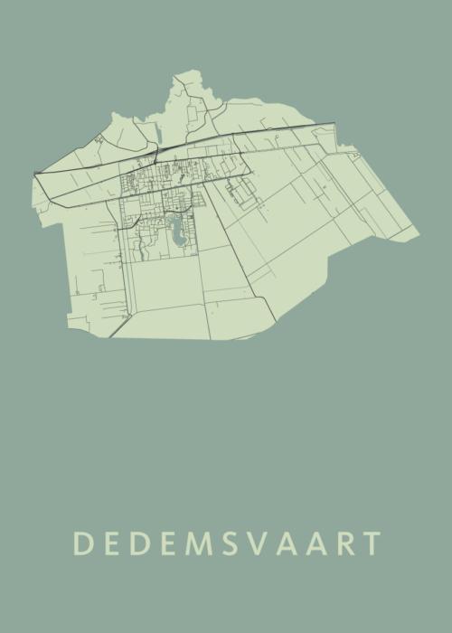 Dedemsvaart Olive Stadskaart Poster | Kunst in Kaart