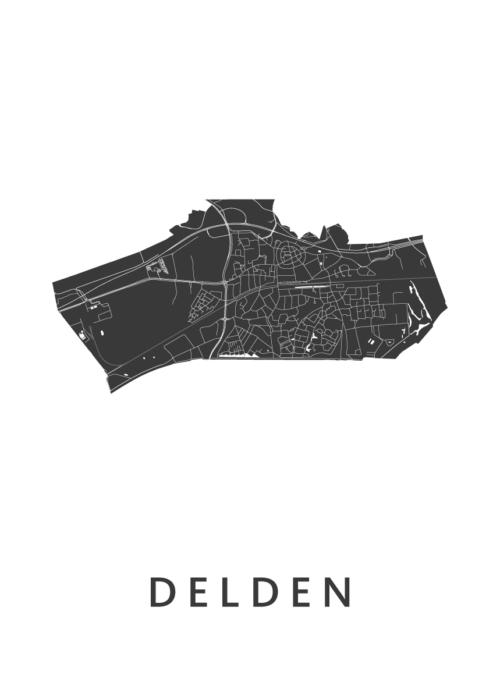 Delden White Stadskaart Poster | Kunst in Kaart