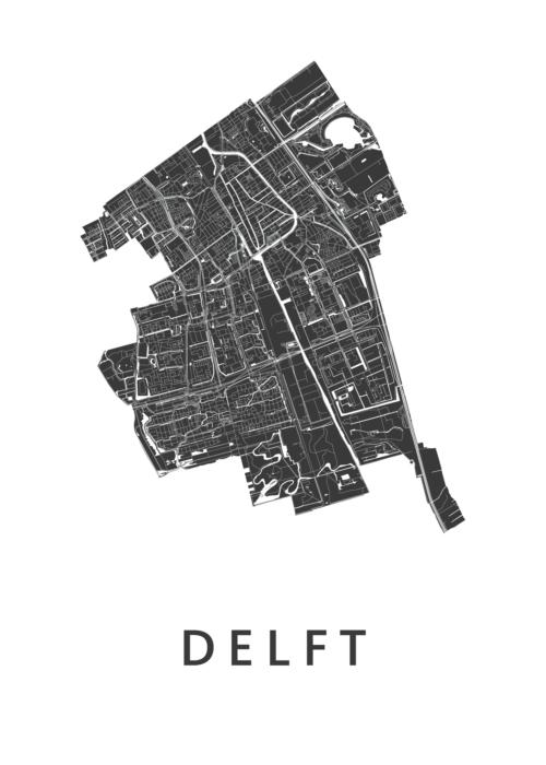 Delft stadskaart poster