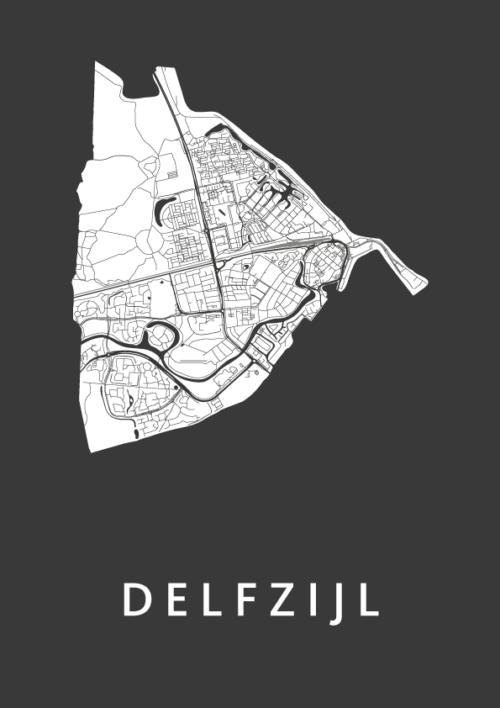 Delfzijl Black City Map