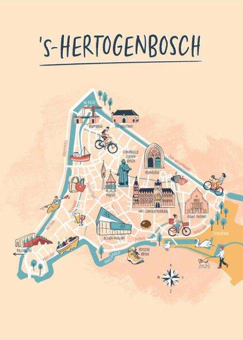 Geïllustreerde kaart - s'Hertogenbosch
