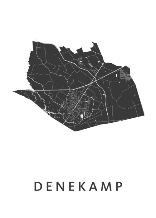 DenekampWhite Stadskaart Poster | Kunst in Kaart