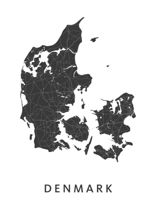 Denmark White B2 stadskaart poster