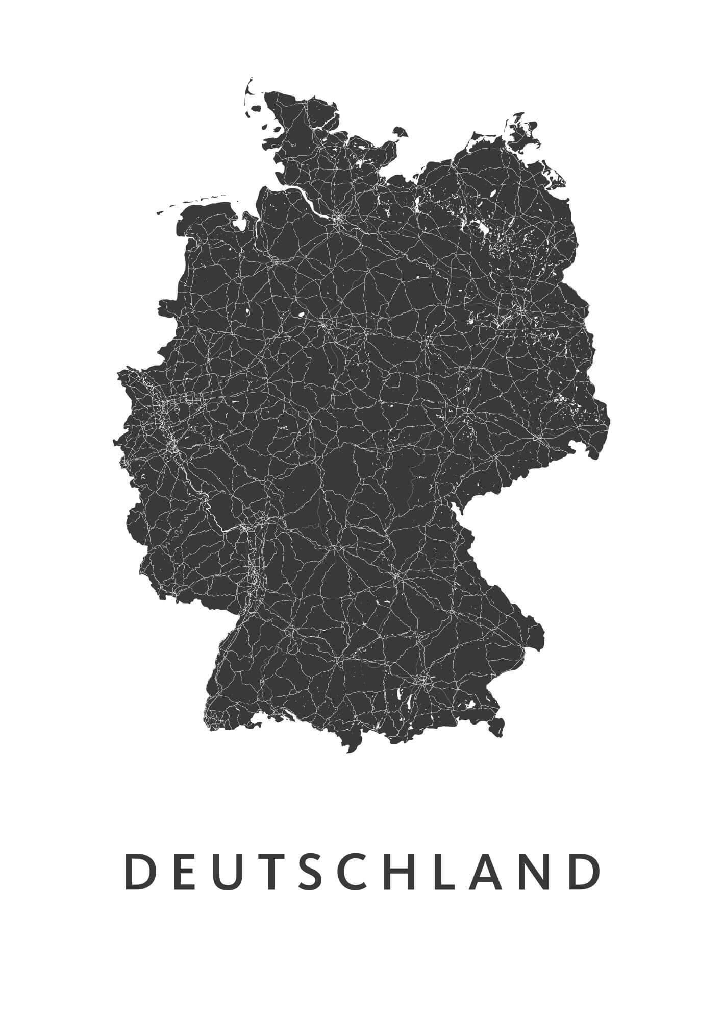 Deutschland White B2 stadskaart poster