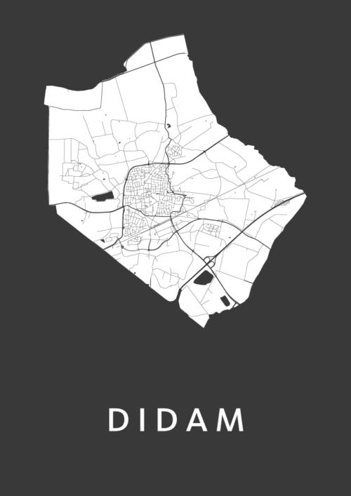 Didam Black Stadskaart Poster   Kunst in Kaart