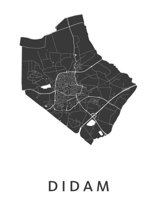 Didam White Stadskaart Poster | Kunst in Kaart
