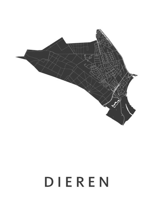 Dieren White Stadskaart Poster | Kunst in Kaart