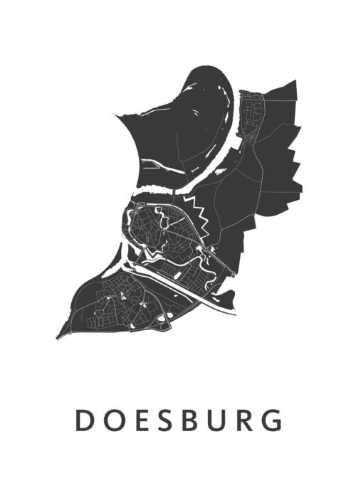 Doesburg White Stadskaart Poster | Kunst in Kaart