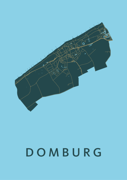 Domburg Azure Stadskaart Poster | Kunst in Kaart