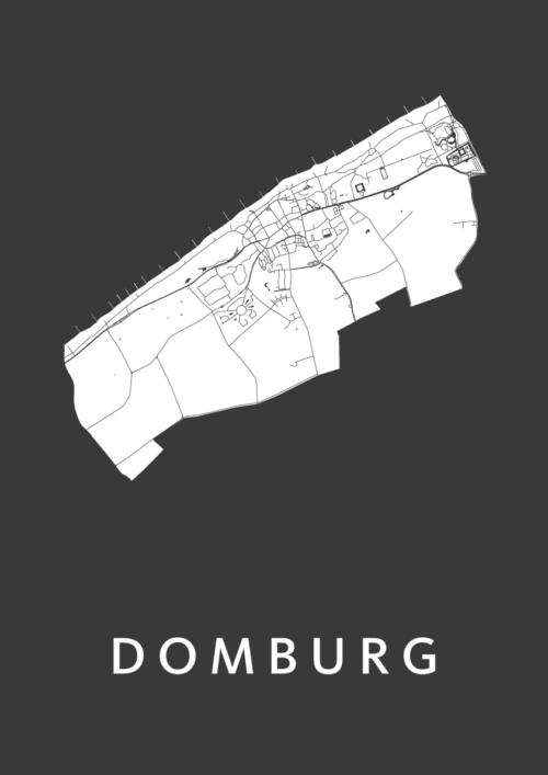 Domburg Black Stadskaart Poster | Kunst in Kaart