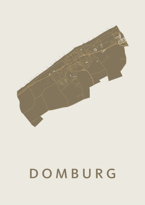 Domburg Gold Stadskaart Poster | Kunst in Kaart