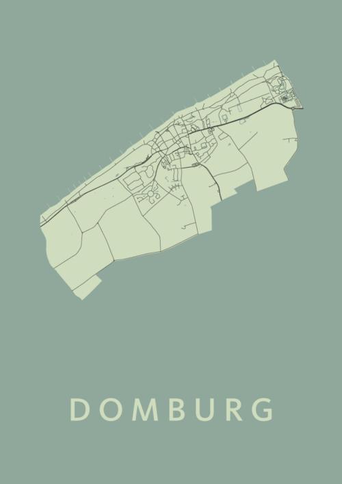 Domburg Olive Stadskaart Poster | Kunst in Kaart