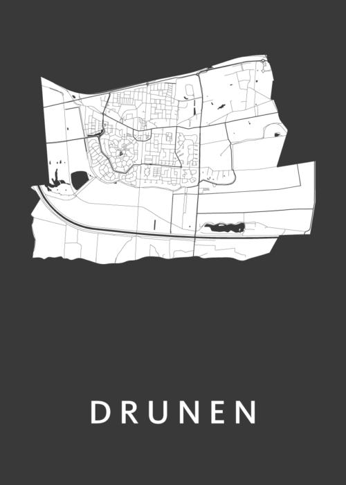 Drunen Black Stadskaart Poster | Kunst in Kaart