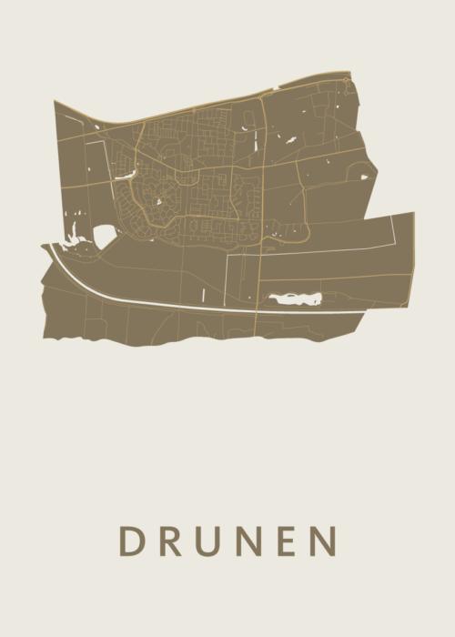 Drunen Gold Stadskaart Poster | Kunst in Kaart