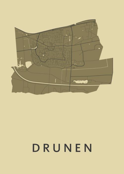 Drunen GoldenRod Stadskaart Poster | Kunst in Kaart