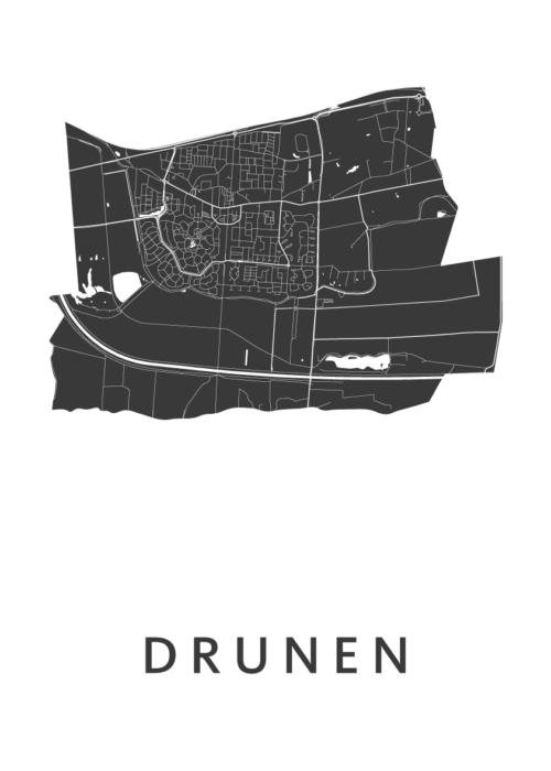 Drunen White Stadskaart Poster | Kunst in Kaart