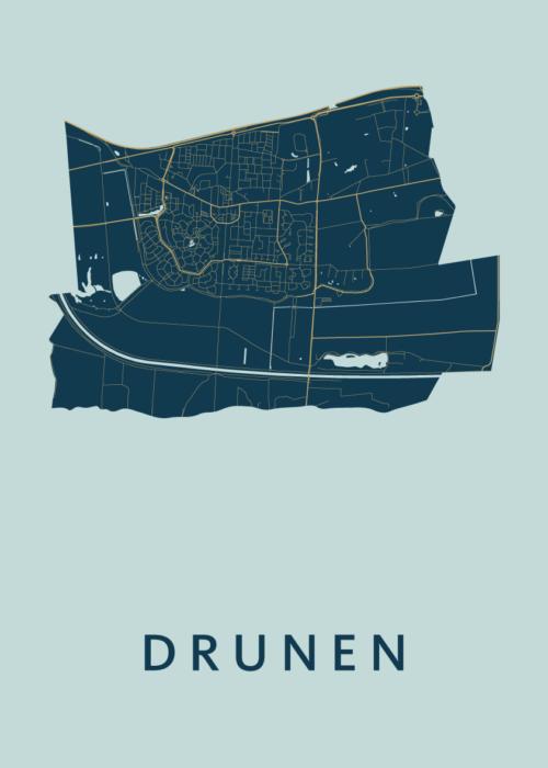 Drunen Prussian Stadskaart Poster | Kunst in Kaart