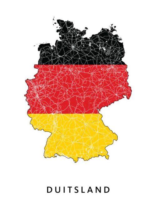 Duitsland Landkaart - Landvlag - Poster