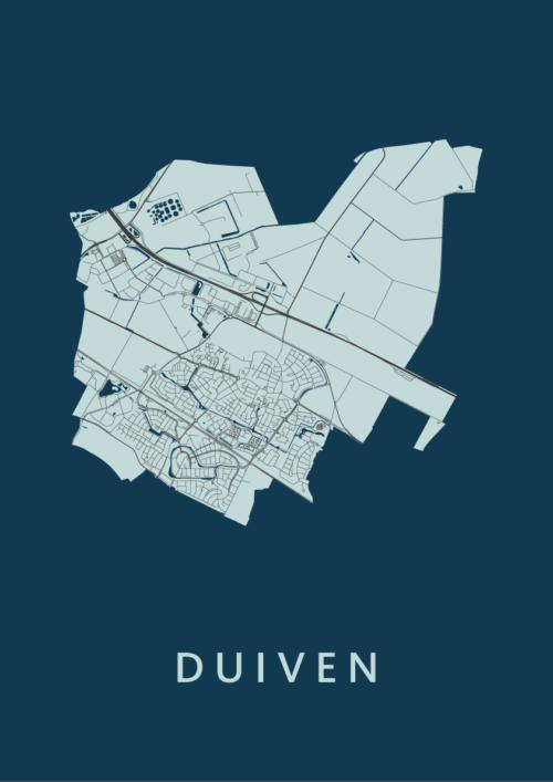 Duiven Navy Stadskaart Poster | Kunst in Kaart