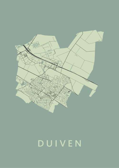 Duiven Olive Stadskaart Poster   Kunst in Kaart