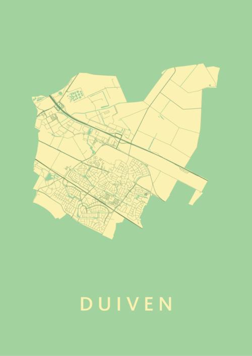 Duiven Spring Stadskaart Poster | Kunst in Kaart