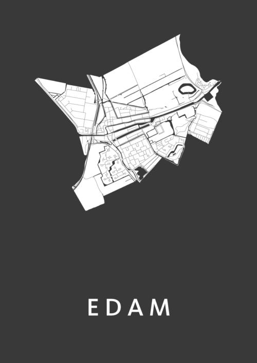 Edam Black Stadskaart Poster | Kunst in Kaart