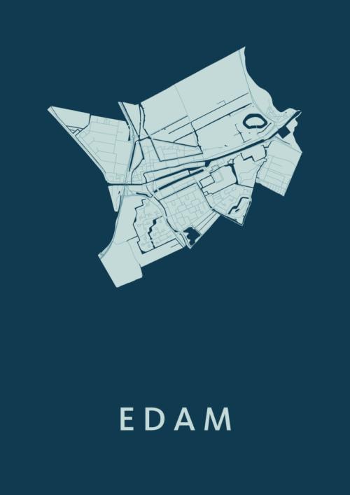 Edam Feldgrau Stadskaart Poster | Kunst in Kaart