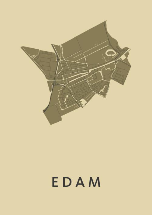 Edam GoldenRod Stadskaart Poster   Kunst in Kaart