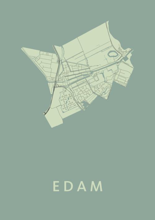 Edam Olive Stadskaart Poster | Kunst in Kaart