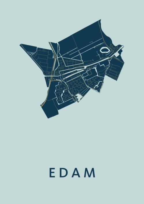 Edam Prussian Stadskaart Poster | Kunst in Kaart