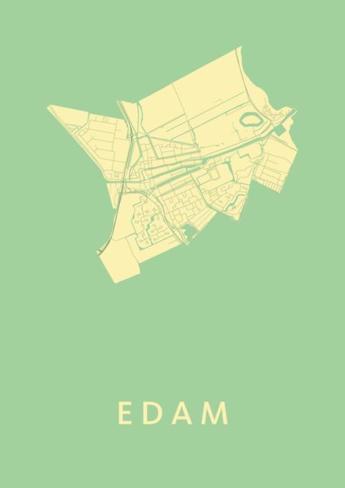 Edam Spring Stadskaart Poster | Kunst in Kaart