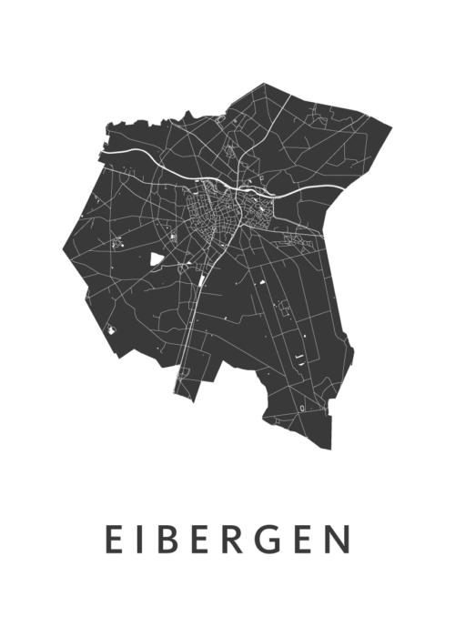 Eibergen White Stadskaart Poster | Kunst in Kaart