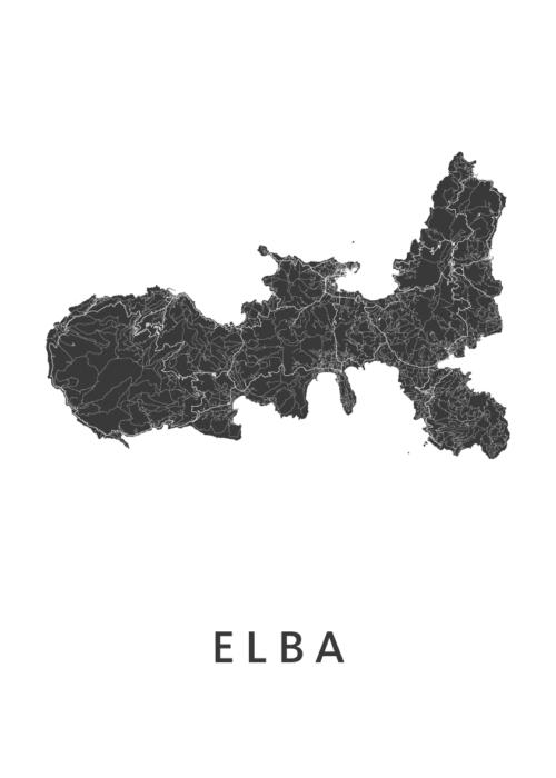Elba Eiland kaart - Wit | Kunst in Kaart
