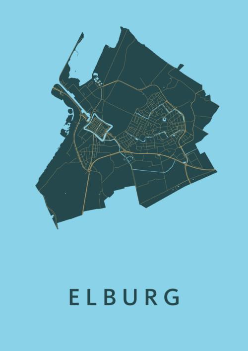 Elburg Azure Stadskaart Poster   Kunst in Kaart