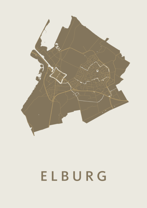 Elburg Gold Stadskaart Poster   Kunst in Kaart