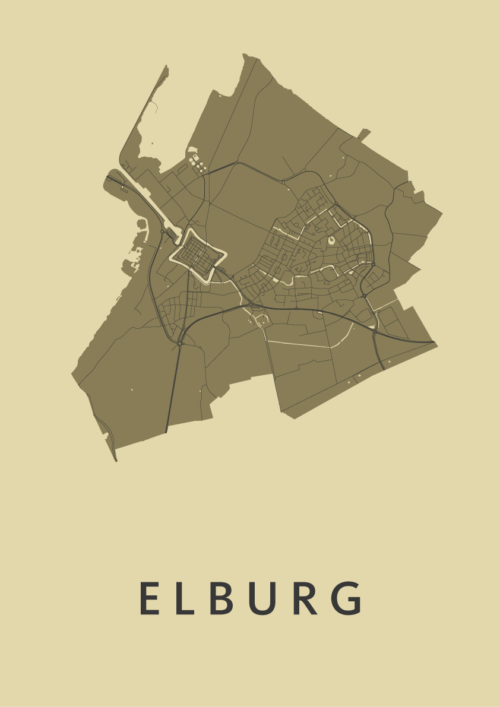 Elburg GoldenRod Stadskaart Poster   Kunst in Kaart