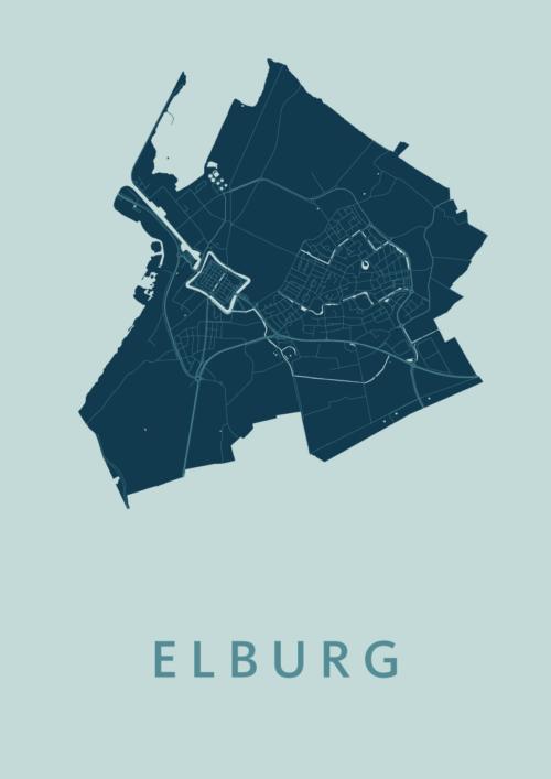 Elburg Mint Stadskaart Poster | Kunst in Kaart