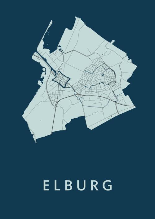 Elburg Navy Stadskaart Poster | Kunst in Kaart