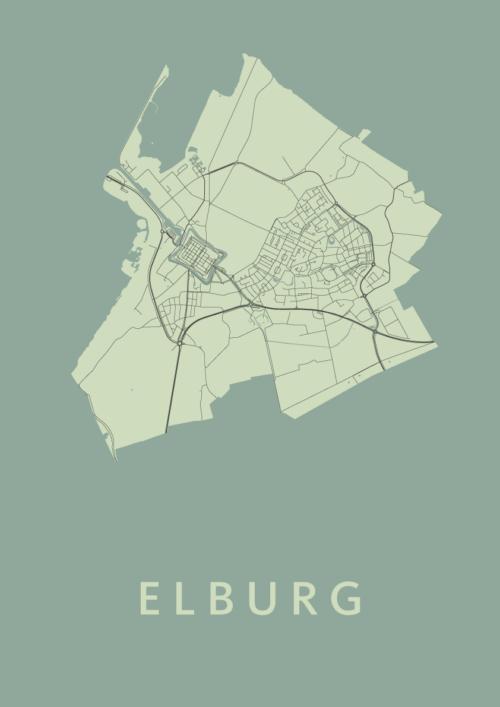 Elburg Olive Stadskaart Poster   Kunst in Kaart