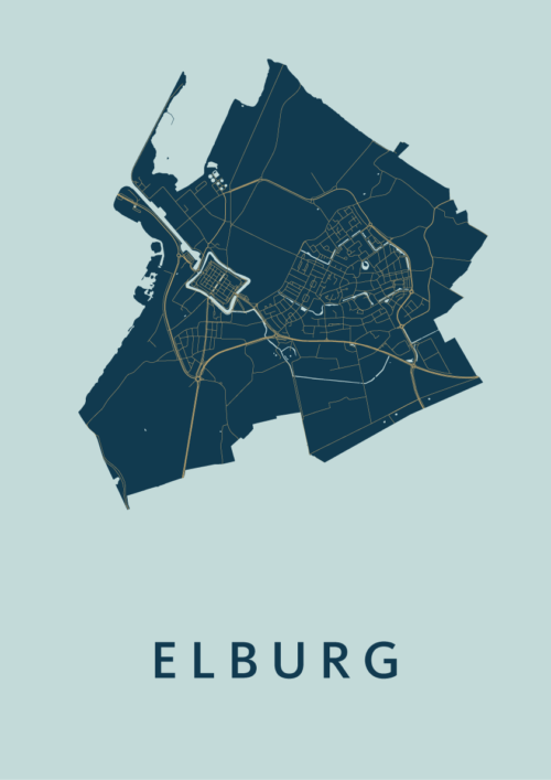 Elburg Prussian Stadskaart Poster | Kunst in Kaart