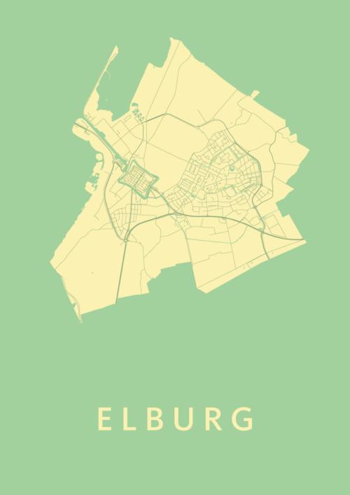 Elburg Spring Stadskaart Poster   Kunst in Kaart